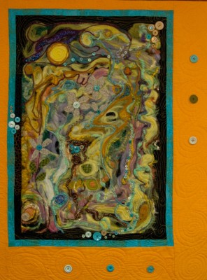 Wool felted quilt, mixed medium quilt, Abstract quilt