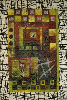 Abstract quilt, art quilt, mixed medium quilt