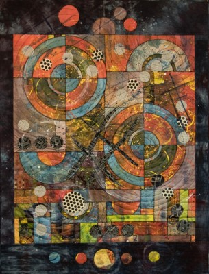 Abstract quilr, art quilt, mix-medium quilt