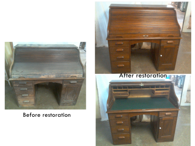 Desk, before ande after