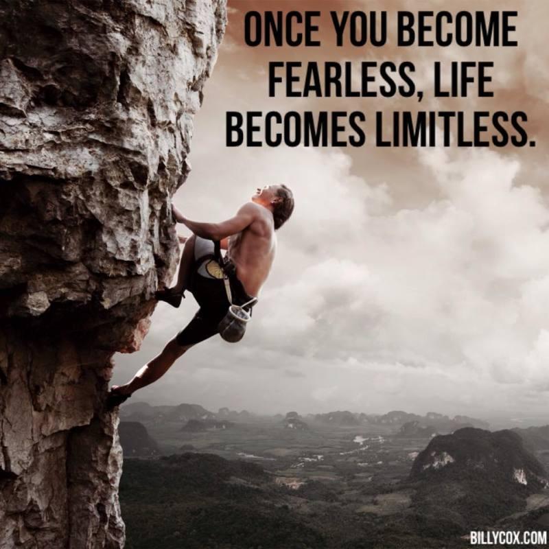 Mountain Climber Being Fearless