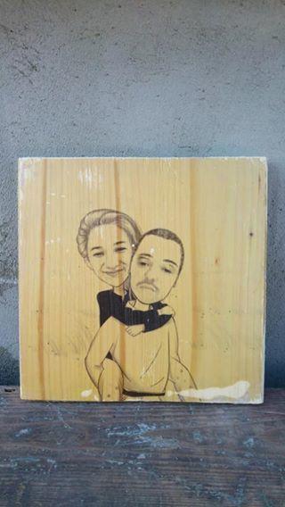 Foto pe lemn vintage- caricatura