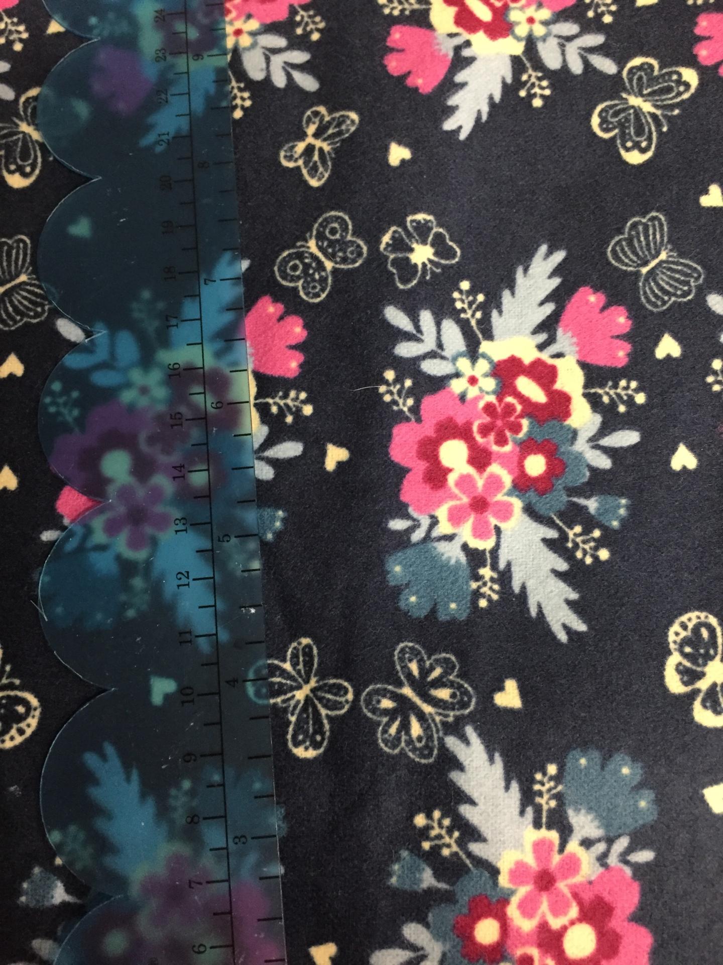 037 Blue  Floral - Flannel