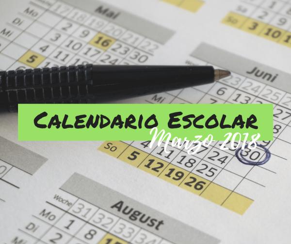Calendario Escolar Marzo 2018