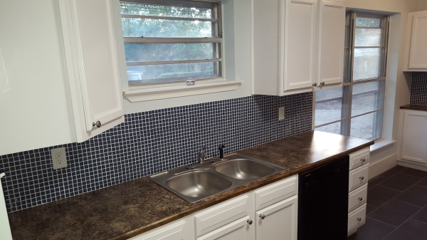 Persian Blue Mosaic Tile and Autumn Brown Formica Counter tops
