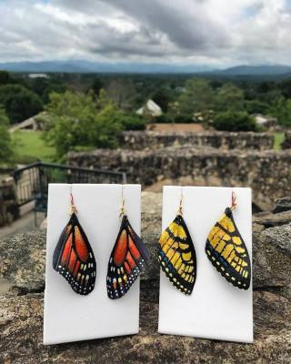 Hand Carved & Painted Leather Butterfly Earrings