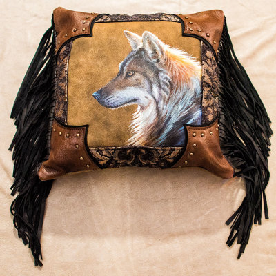 Hand Made & Painted Leather Wolf Pillow