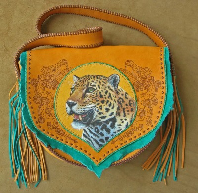 Burned & Hand Painted, Beaded Leather Hand Bag