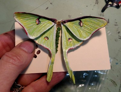 Hand Carved & Painted Leather Luna Moth