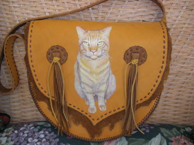 Custom Leather Cat Portrait Handbag