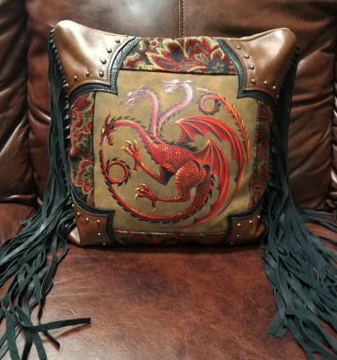 Custom Hand Painted Leather Dragon Pillow