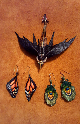 Dragon Pin and Butterfly/Peacock Earrings
