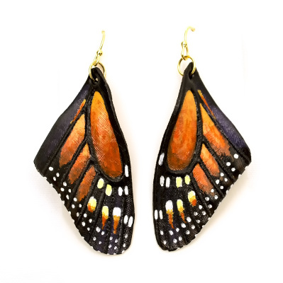 Hand Carved and Painted Leather Butterfly Wing Earrings