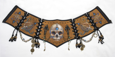Burned & Painted  Leather Corset Belt