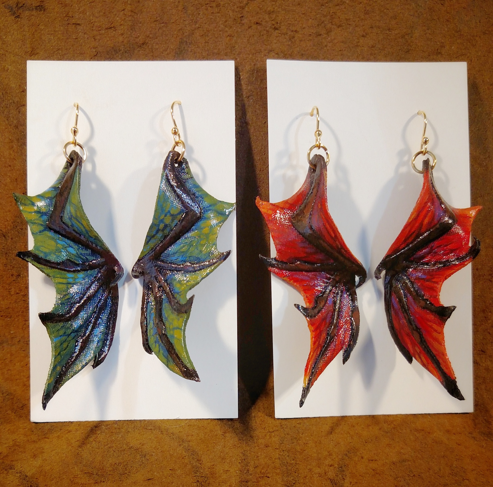 Hand Carved & Painted Leather Dragon Wing Earrings