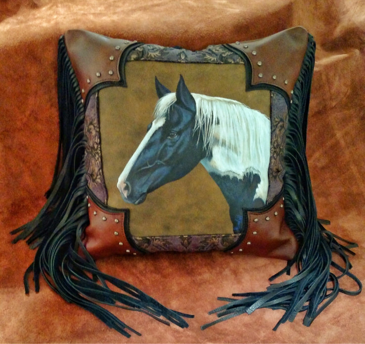 Hand Painted Leather Horse Pillow
