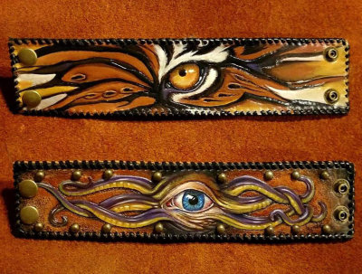 Hand Carved & Painted  Leather Crawling Eye Cuffs