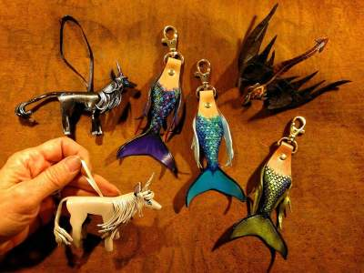Leather Holiday Ornaments, Mermaid Key Holders & Dragon Pin