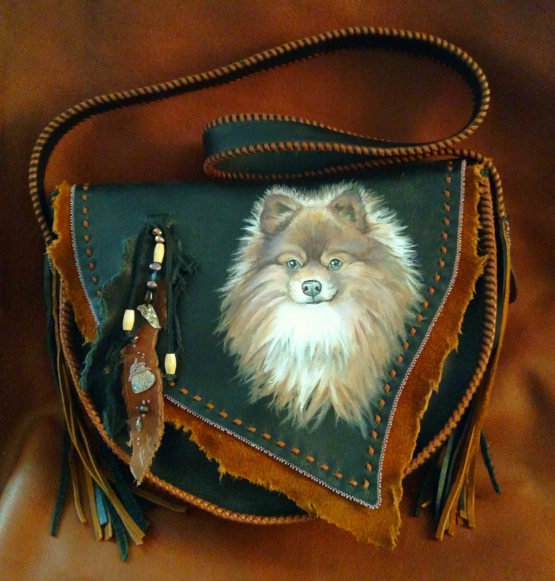 Custom Hand Painted Dog Portrait Bag