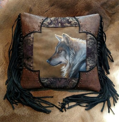 Hand Painted Wolf Pillow