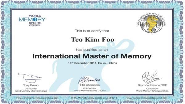 International Master of Memory Certificate