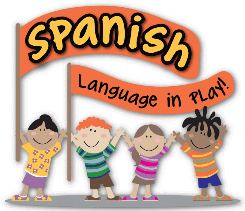 Cartoon image of children jumping and learning Spanish at a daycare in Stockton, CA