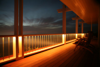 Deck Remodel and Construction, lighting, stain, railing, protective overhang