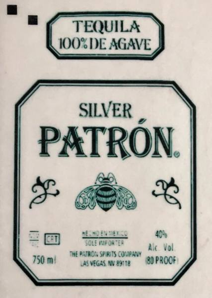 Patron label on wafer edible paper.