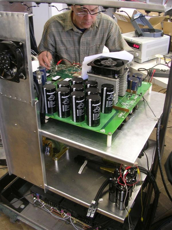 High powered tester for rechargeable power supply used in robotics.