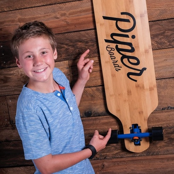 Tre Lohre with 1st PiperBoard Longboard
