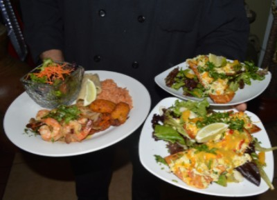 Pan Seared Prawns and Crab Tostada Salads