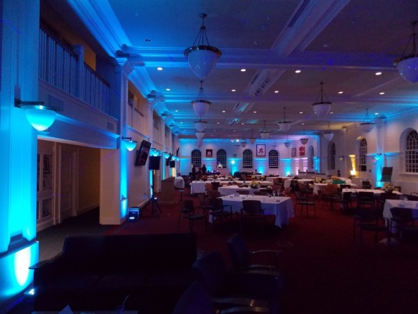 Blue LED Uplighting placed in Large Room