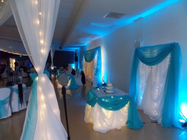 Blue LED Uplighting behind the Cake Table in New Minas, Nova Scotia