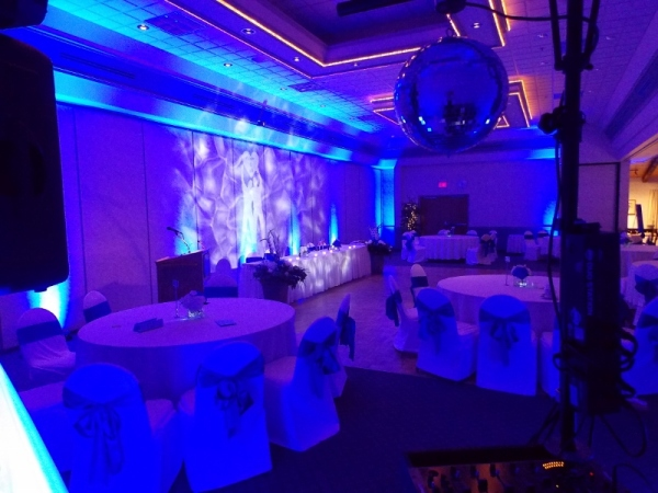 Blue LED Uplighting with LED Monogram