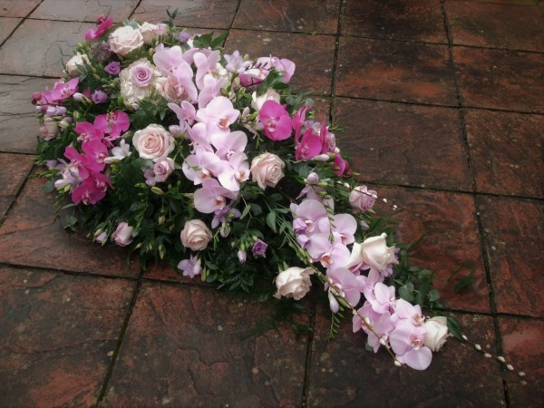 Large Phalenopsis Orchid, Rose and Freesia single Ended Coffin Spray