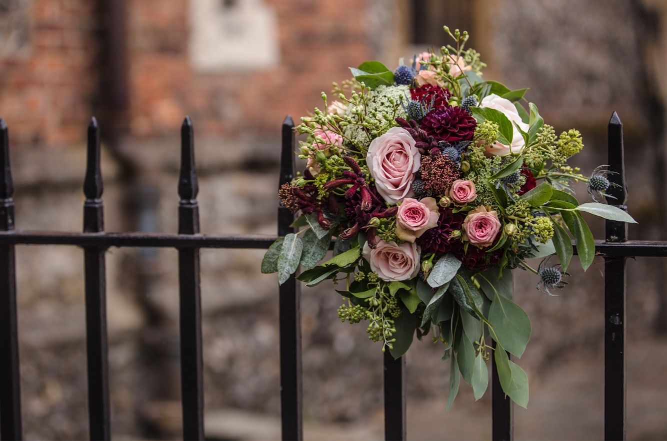 Bridal Bouquet with Pink and Claret