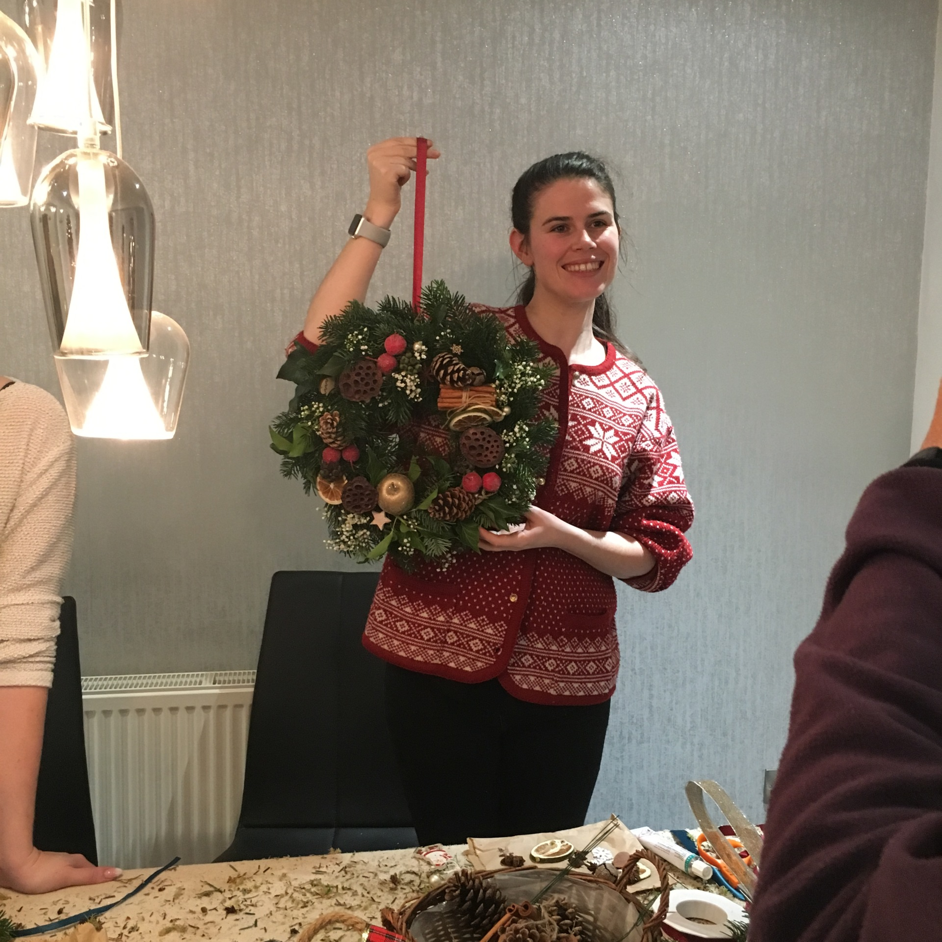 Getting her wreath on
