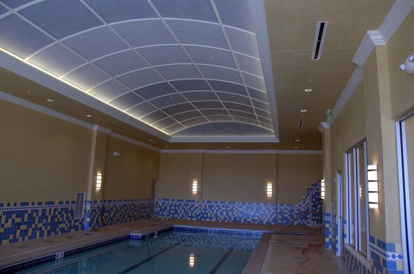 Residence pool area with custom painted plaster ceilings