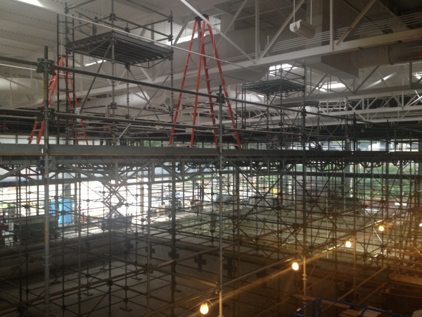 Scaffold erected over CU Boulder Natatorium