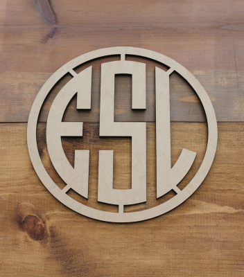 "Circle Monogram w/ Frame 11.5""Diameter - $45.00"