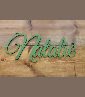 "Fancy Script Name w/ Hoops 10""H x 23.5""W - $45.00"