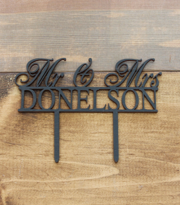 "Simple Mr. & Mrs. Name 3""H x 7.5""W - $25.00"
