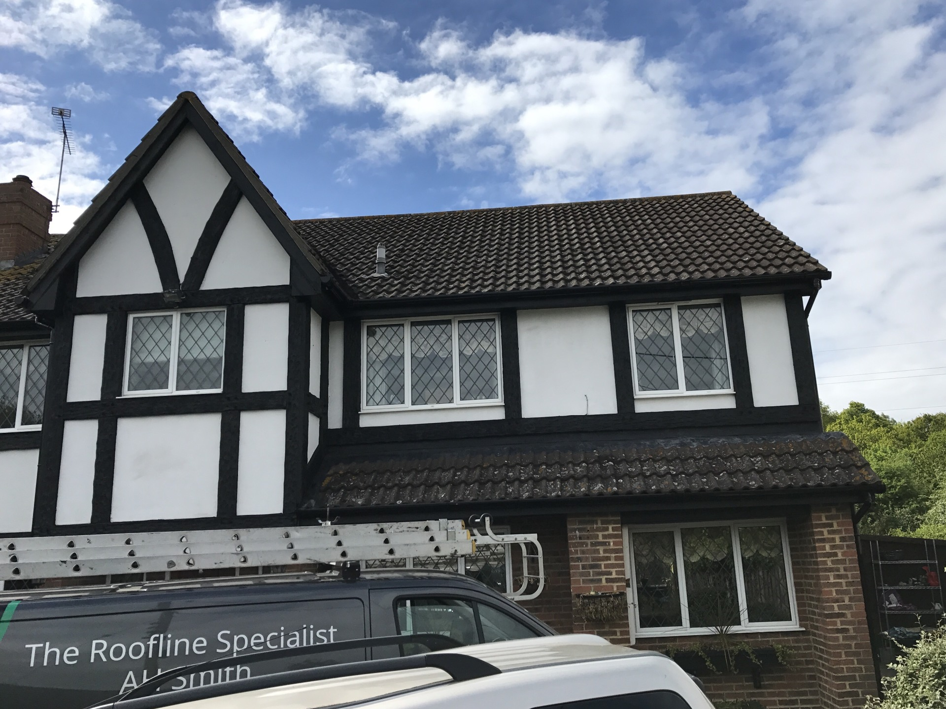 Roofline painted deep flow guttering
