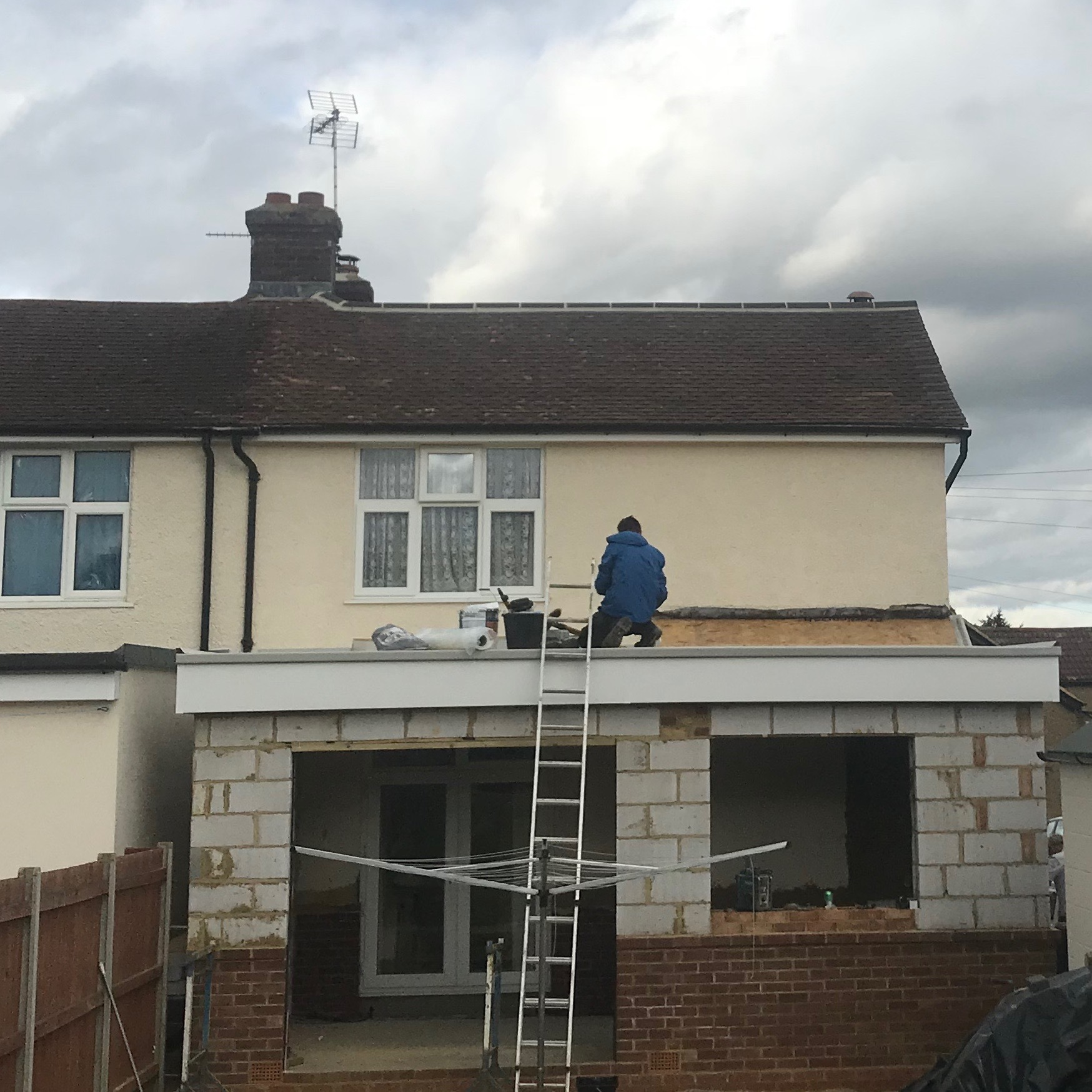 Over conservatory gutter installation