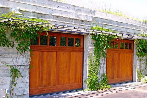 Clear Vertical Grain Fir Overhead Garage Doors