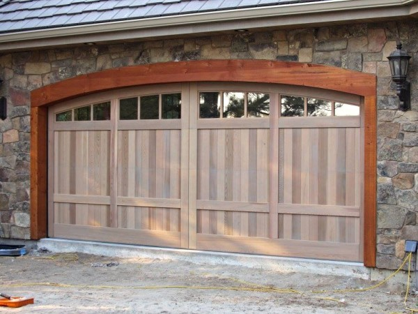 Clear Vertical Grain Cedar Overhead Garage Doors