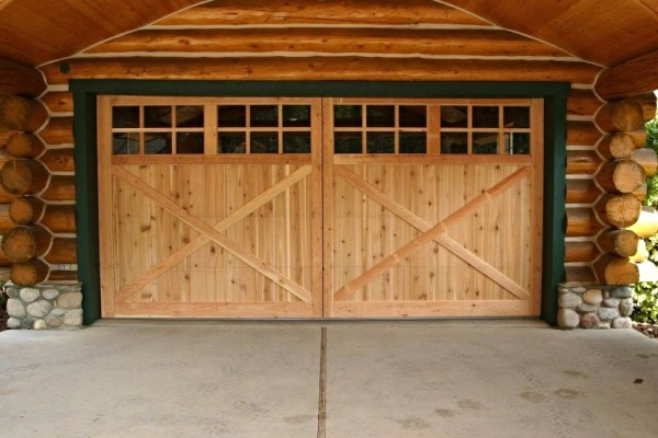 Knotty Cedar Panel, Fir Border Overhead Garage Door