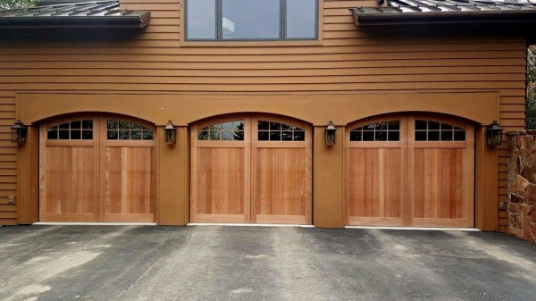Clear Heart Redwood Overhead Garage Doors