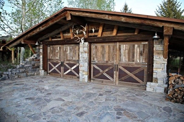 Reclaimed Barnwood & Corrugated Steel Overhead Garage Door
