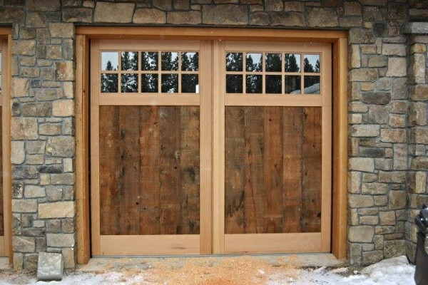 Barnwood Panel, Clear Vertical Grain Fir Border Overhead Garage Door